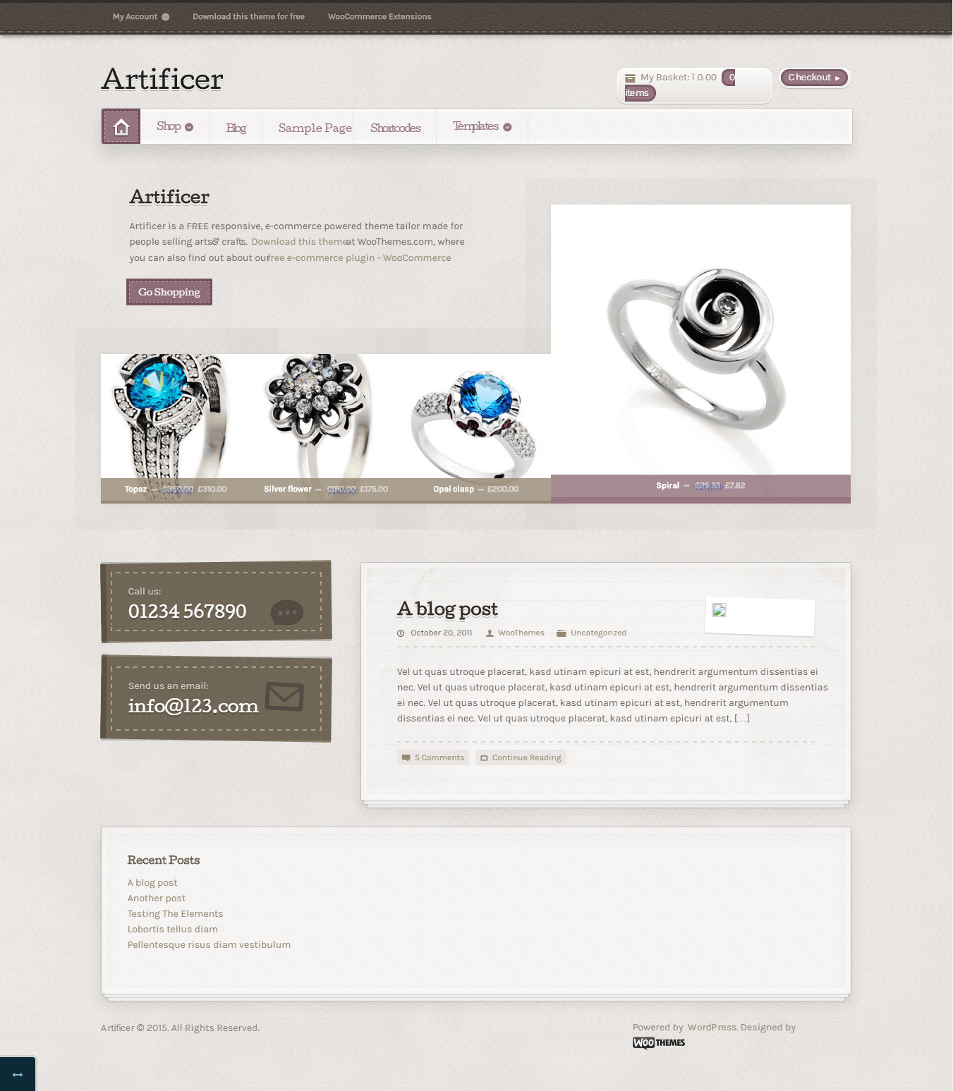 Artificer eCommerce WordPress theme