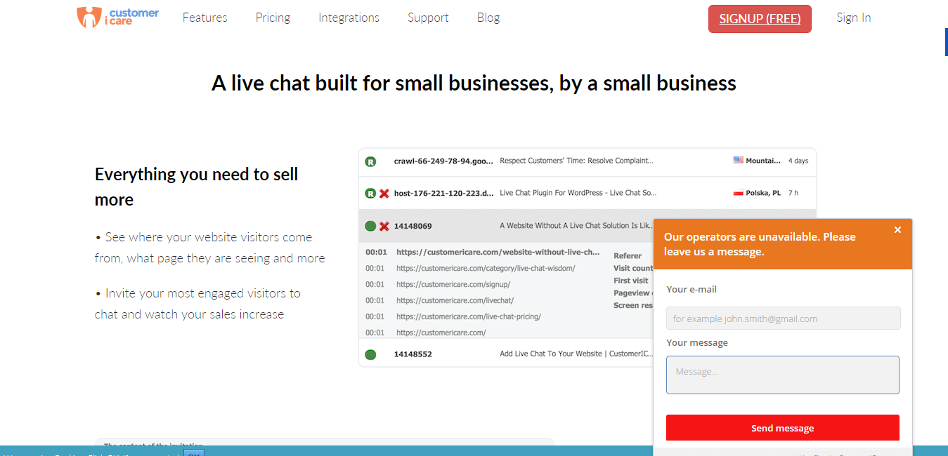 CustomerICare live chat