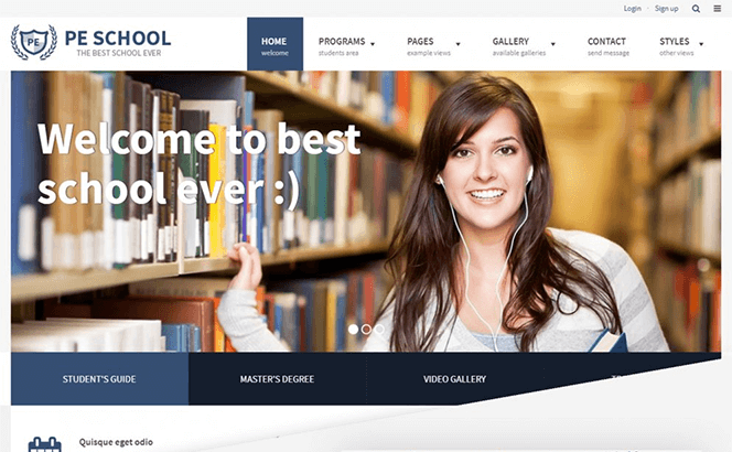 PE School Education WordPress theme