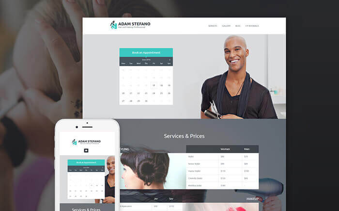 Adam Stefano - Hair & Makeup Professional WordPress Theme