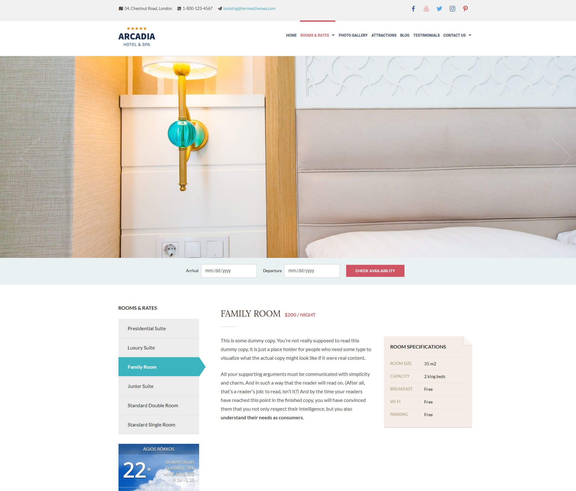 Accomodation Page templae of Arcadia Theme