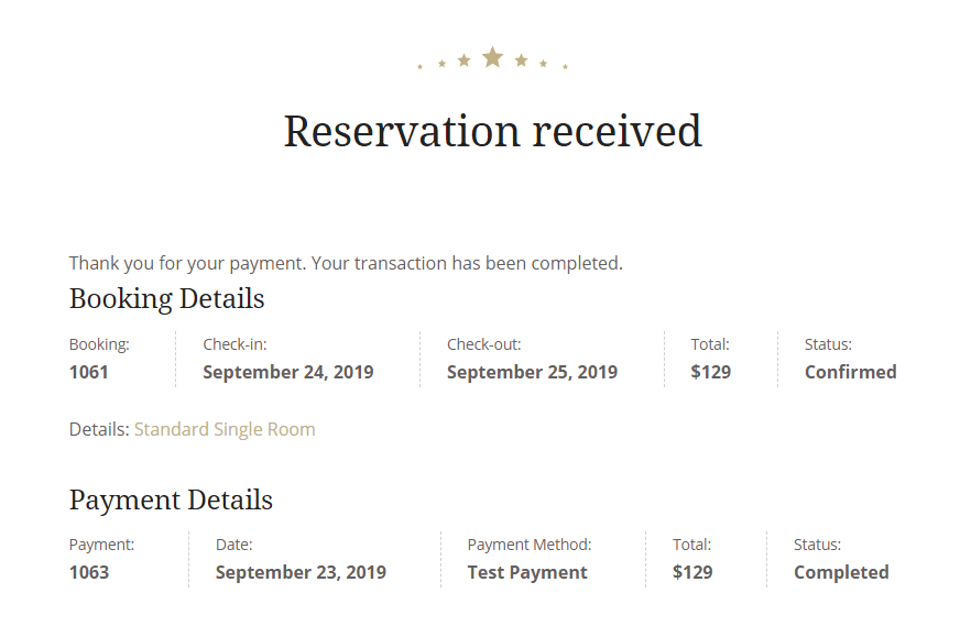 accommodation reservation confirmation