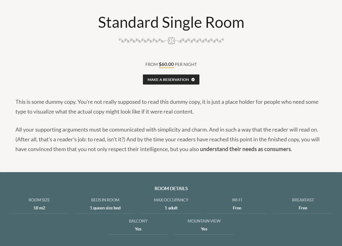 Mammoth Theme Room Page Template