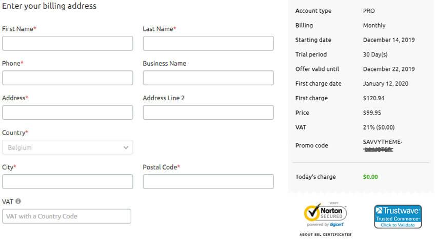 SEMrush account signup billing info