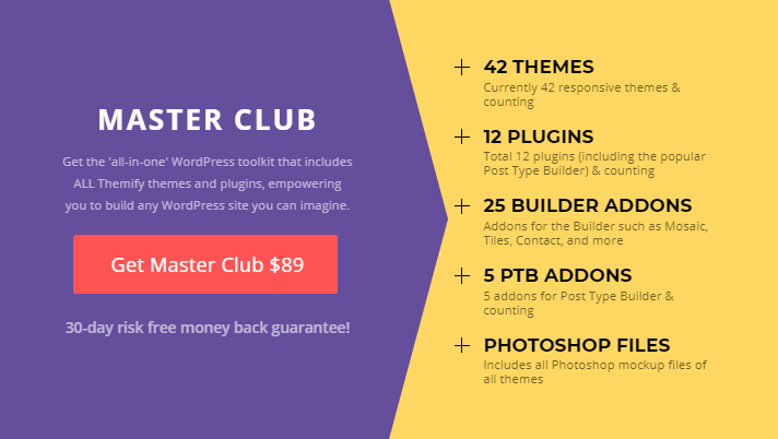 Master Club is the best Themify pricing option and value for money