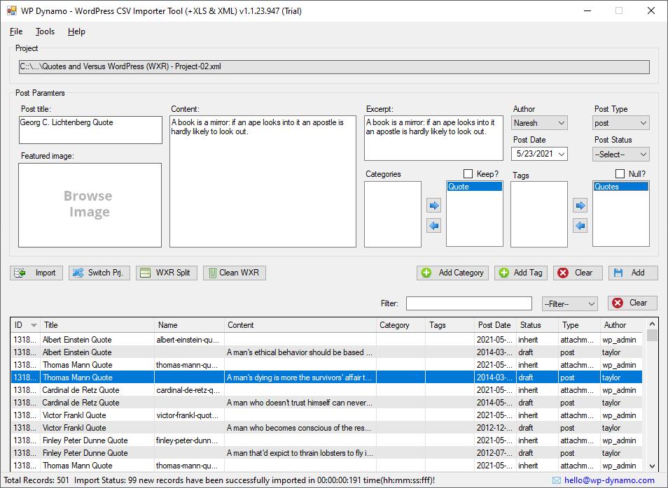 wordpress importer main dashboard